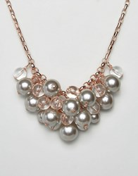 Ted Baker Galini Pearl Cluster Necklace Rose Gold Pink