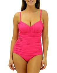 Fit 4 U Shirred One Piece Swimsuit Pink