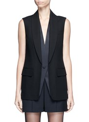 Alexander Wang Double Layer Satin Collar Tuxedo Vest Black