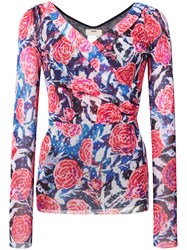 Fuzzi Floral Wrap Top Pink And Purple