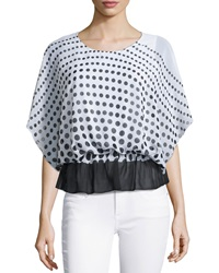 Liquid By Sioni Polka Dot Peplum Blouse White Black