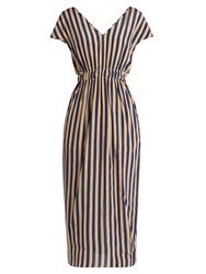 Fendi V Neck Striped Silk Crepe De Chine Dress Navy Stripe