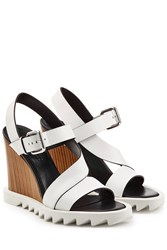 Jil Sander Leather Wedge Sandals With Lug Sole Multicolor