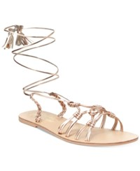 Nanette Lepore By June Flat Lace Up Sandals Only At Macy's Women's Shoes Rose Gold
