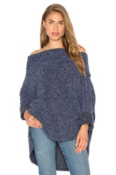 Bobi Sweater Rib Off The Shoulder Sweater Blue