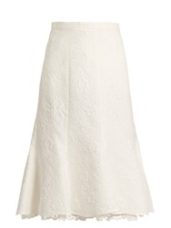 Oscar De La Renta Floral Cloque Cotton Blend Skirt White