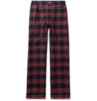 Sleepy Jones Marcel Piped Checked Cotton Pyjama Trousers Navy
