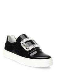 Roger Vivier Sneaky Viv Embellished Patent Leather Skate Sneakers Black