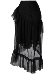 Simone Rocha Sheer Layered Skirt Black