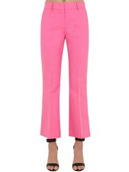 Msgm Flared Cotton Pants Pink