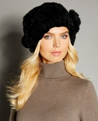 The Fur Vault Rosette Knitted Rex Rabbit Hat Black