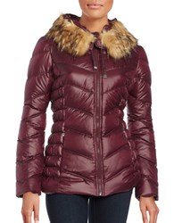 Guess Long Sleeve Faux Fur Puffer Jacket Wine