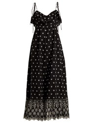 Athena Procopiou Moonbeams Floral Embroidered Dress Black White