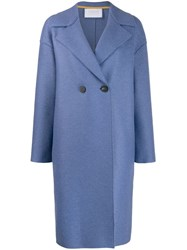 Harris Wharf London Double Breasted Coat Blue