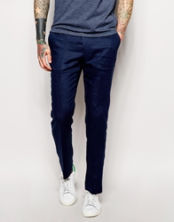 Asos Slim Fit Cropped Suit Trousers In 100 Linen Navy