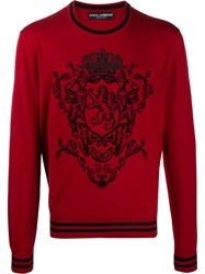 Dolce And Gabbana Heraldic Motif Knitted Jumper 60