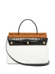 Burberry Title Panelled Leather Small Bag White Multi