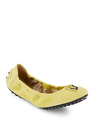 Tod's Dee Laccetto Suede Ballet Flats Yellow