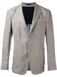 Z Zegna Two Button Jacket Men Linen Flax Cupro 54 Brown