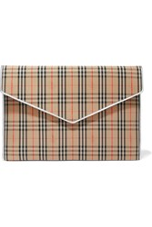 Burberry Leather Trimmed Checked Cotton Drill Clutch Beige