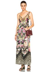 Camilla Gathered Wide Leg Jumpsuit In Floral Abstract