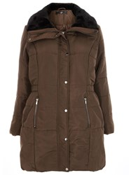 Evans Brown Fur Collar Padded Coat