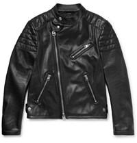 Tom Ford Slim Fit Leather Biker Jacket Black