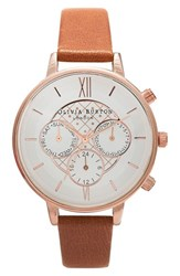 Women's Olivia Burton Chronograph Leather Strap Watch 38Mm