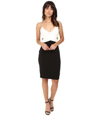 Badgley Mischka Color Block Cut Out Stretch Dress Ivory Black Women's Dress Multi