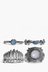Boohoo Mixed Tribal Ring Pack Silver
