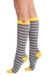 Women's Vim And Vigr Nautical Stripe Graduated Compression Trouser Socks Grey White Yellow
