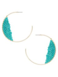 Design Lab Lord And Taylor Beaded Hoop Earrings Blue