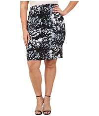 Vince Camuto Plus Size Floral Back Zip Scuba Pencil Skirt Chambray 2 Women's Skirt Blue