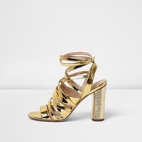 River Island Womens Patent Gold Strappy Heeled Sandals