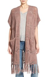 Women's Hinge Open Knit Fringe Long Cardigan