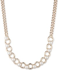 Dkny Gold Tone Imitation Pearl Ring Collar Necklace Created For Macy's White