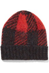 Rag And Bone Cammie Plaid Knitted Hat Red