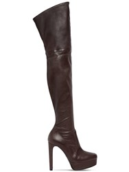 Casadei 120Mm Nappa Leather Over The Knee Boots Black