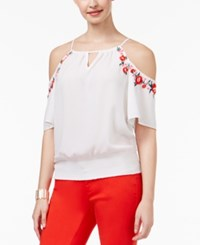Thalia Sodi Embroidered Cold Shoulder Top Only At Macy's Bright White
