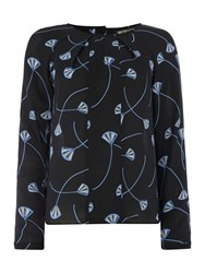 Biba Deco Fan Print Drape Detail Blouse Multi Coloured