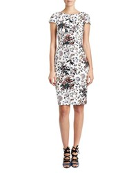 Erdem Marion Short Sleeve Sheath Dress White