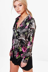Boohoo Satin Floral Paisely Night Shirt Multi