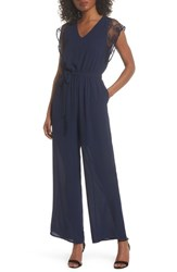 19 Cooper 'S Lace Sleeve Jumpsuit Navy