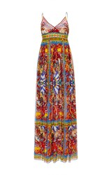 Dolce And Gabbana Silk Printed Empire Waisted Maxi Gown