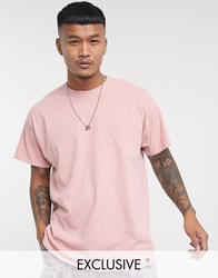 Reclaimed Vintage Inspired Overdye Washed T Shirt In Dusty Pink
