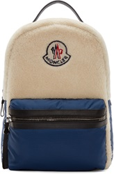 Moncler Blue Textile And Shearling Backpack