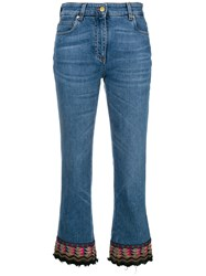 Etro Embroidered Detail Cropped Jeans Blue