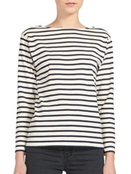 Saint Laurent Striped Boatneck Cotton Tee White Nite