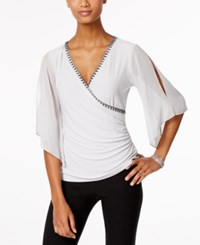 Msk Embellished Flutter Sleeve Faux Wrap Top Grey