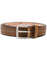Etro Perforated Detail Belt Brown